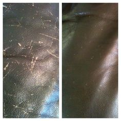 leather furniture repair-before after glossy brown sofa skin