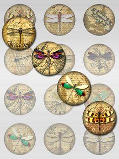 Dragonflies Ephemera Ferns Digital Collage Jpeg by pixeltwister, $4.05