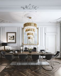 Get inspired by these dining room decor ideas! From dining room furniture ideas, dining room lighting inspirations and the best dining room decor inspirations, you'll find everything here! Classic Dining Room, Luxury Dining Room, Dining Room Lighting, Dining Room Design, Dining Rooms, Dining Tables, Dining Area, Kitchen Design, Modern French Interiors