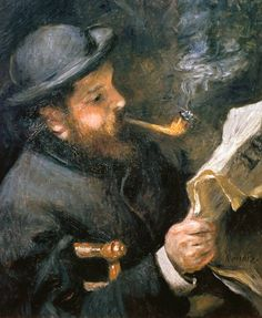"""Claude Monet (1840-1926) reading a newspaper"", 1872 - ~ by Pierre-Auguste Renoir, (1841 - 1919)."