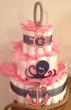 Nautical Girl Baby Shower Cake | Nautical Baby Girl Diaper Cake
