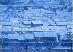 「年暮る」京の家々の瓦屋根の上に、しんしんと雪は降り積もる