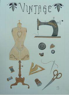 La couture vintage. Tableau illustré à l'aquarelle par LabLiu,