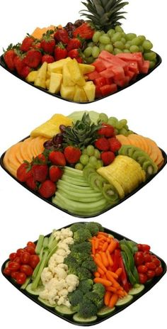 Deli fruit and veggie tray ideas.