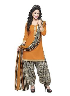a76932613a EthnicJunction Women's Cotton Patiala Unstitched Suits Collection (Orange,  - Shopping With US