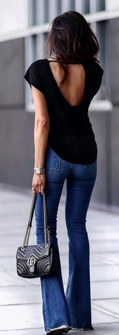 #summer #outfits Black Open Back Top + Wide Jeans