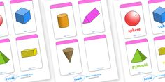 A set of shape flashcards. Features both the shapes on their own and the shape including the name in a font style designed for dyslexia. Can be used in a number of different ways - matching games, as flashcards etc. If you are using as flashcards, 2d Shapes Names, Shape Names, 3d Shapes, Shapes Flashcards, Primary Teaching, Primary School, Pre School, Teaching Resources, Shape Pictures