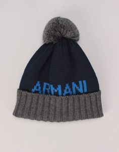 The Armani Junior two tone bobble hat in navy has a ribbed grey folded up lip and pom pom to the crown. Navy Logo, Bobble Hats, Baby Boots, Folded Up, Autumn Essentials, Beanie, Logos, Cute, Accessories