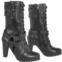 leatherup.com Xelement LU8003 Women's Fashion Buckle and Harness Motorcycle Boots