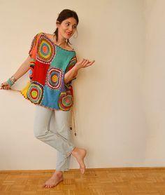 Círculo de ganchillo multicolor de la bufanda hilado por subrosa123