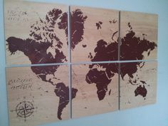 Old World Map  Print Wood Stain Painting Wall Art on SOLID BIRCH