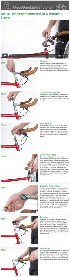 It's simple to adjust the height of the handlebars with an old-style threaded steerer-tube as the handlebar stem telescopes into the steerer tube and expands to lock there. In this system the handlebar stem is a completely separate system from the headset bearing that allows the front wheel to 'steer'.
