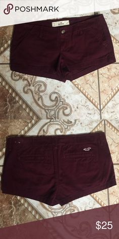 Low rise shorts It's Burgundy with two pockets in front and two in the back. Never been worn. Hollister Shorts