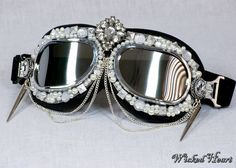 Ice Queen Goggles Silver and Black with jewels by Wickedheart, $40.00