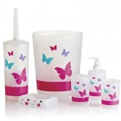 Pretty Bathroom Accessories Set For Little S With Colorful Erfly Motif And Pink Accent