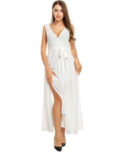 White Solid Sleeveless Split Hem V Neck Pullover Wedding Bridesmaid Dresses