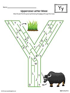 Uppercase Letter Y Maze Worksheet (Color) Worksheet.If you are looking for creative ways to help your preschooler or kindergartener to practice identifying the letters of the alphabet, the Uppercase Letter Maze in Color is the perfect activity. Alphabet Worksheets, Alphabet Activities, Preschool Worksheets, Letter Maze, Letter Sorting, Beginning Sounds Worksheets, English Worksheets For Kids, French Language Learning, Learning Spanish