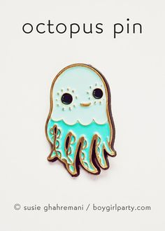 Octopus Pin! Enamel lapel pin featuring a unique drawing of a squid by Susie Ghahremani / boygirlparty / boygirlparty.com #pingame