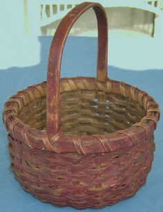 WONDERFUL LATE 19TH EARLY 20TH C SMALL SPLINT BERRY BASKET IN EARLY RED PAINT | eBay  sold  110.00