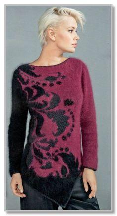 Вязание спицами. Описание женской модели со схемой и выкройкой. Удлиненный пуловер с жаккардовым узором в технике интарсия. Размеры: 34/36 - 50/52