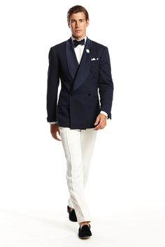 Ralph Lauren Spring Summer 2014. white an d navy, always a fresh, clean, crisp look. for my guy, lose the bow tie.