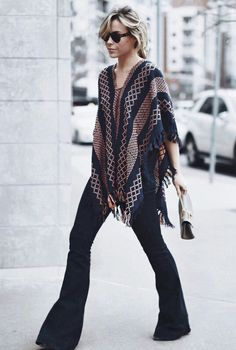 Sway+ PONCHO+FREE+PEOPLE+|+DENIM+STELLA+MCCARTNEY +|+BAG+CHLOE+|+HAT+MADEWELL Happily+Grey+