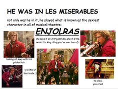 aaron tveit as enjolras Broadway Theatre, Musical Theatre, Les Miserables Book, Grease Live, Aaron Tveit, Golden Hair, First Love, My Love, Kinds Of Music