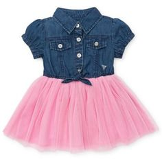 Fashionable and fun, this Denim Dress from Guess features a lovely pink tulle skirt that will make your little girl look gorgeous. Girls Dresses Sewing, Kids Outfits Girls, Cute Outfits For Kids, Toddler Girl Outfits, Little Girl Dresses, Toddler Fashion, Toddler Dress, Baby Dress, Kids Fashion