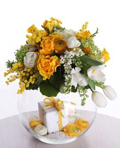 from Iryna Yellow Centerpieces, Table Centerpieces, Table Decorations, Modern Floral Arrangements, Faux Flower Arrangements, Hand Bouquet, Bouquets, Flower Fashion, Faux Flowers