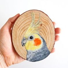 Painted Birds, 100 Day Challenge, Bullet Journal Aesthetic, Wood Circles, Small Canvas, Cockatiel, Wood Slices, 100th Day, Wood Sculpture