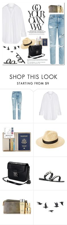 """""""Casual Airport Style"""" by outfitsfortravel ❤ liked on Polyvore featuring GRLFRND, Marques'Almeida, Lack of Color, Philipp Plein, Estée Lauder and Jayson Home"""