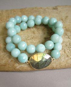 Blue Labradorite Bracelet Amazonite Beaded by julianneblumlo, $88.00