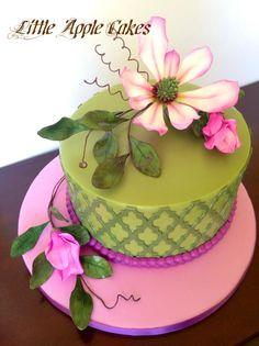 Magnolia Garden Cake By Little Apple Cakes Cupcakes, Cake Cookies, Cupcake Cakes, Cake Icing, Fondant Cakes, Fancy Cakes, Mini Cakes, Beautiful Cakes, Amazing Cakes