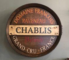 Handpainted Wine Barrel End, Wall Decor, Chablis, French Decor, Bar Decor, Wine Cellar $295