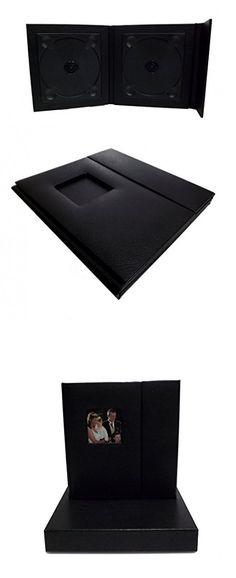 Wedding Story CD/DVD Case (Bulk of 10), Black leatherette, Overlapping, Holds 2 Disc/1 photo