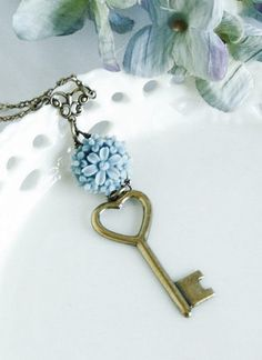 Something Blue. Key Necklace Brass Key Charm Heart Shaped by JacarandaDesigns Key Jewelry, Jewelery, Jewelry Making, Unique Jewelry, Vintage Jewelry, Dragons, Under Lock And Key, Old Keys, Blue Springs