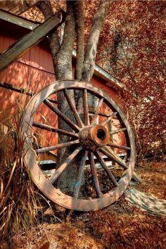 Country Living ~ old wagon wheel Country Charm, Country Life, Country Girls, Country Living, Country Roads, Vieux Wagons, Old Wagons, Autumn Scenes, Country Scenes