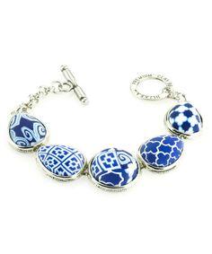 Look at this #zulilyfind! Navy Toggle Bezel Bracelet by JILZARA #zulilyfinds