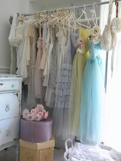 old dresses of chiffon & tulle