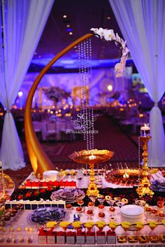 If I was invited to this wedding, I would have to be rolled home - *best dessert table* Mini Desserts, Wedding Desserts, Indian Wedding Food, Indian Wedding Decorations, Party Food Buffet, Dessert Buffet, Dessert Tables, Aladdin Wedding, Wedding Arrangements