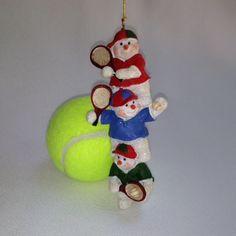3 Tennis Playing Snowmen Ornament