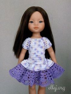 Ravelry: Flared dress for Paola Reina by Elena Kozhukhar Crochet Girls Dress Pattern, Crochet Baby Cardigan, Crochet Doll Dress, Crochet Baby Sandals, American Girl Crochet, American Girl Diy, Knitting Dolls Clothes, Crochet Doll Clothes, Barbie Dress