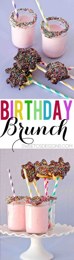 Birthday brunch!  I love the mix of different colors of stripey straws.  So festive and fun, and perfect with the sprinkles.