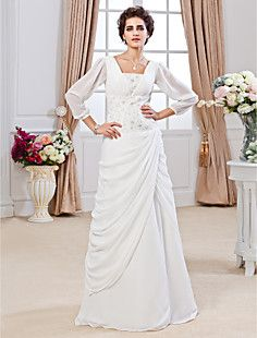 Sheath/ Column Square Floor-length Chiffon Wedding Dress – USD $ 346.49