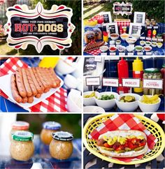 Hotdog bar: add your favorite toppings could do hamburgers to perfect for a birthday party