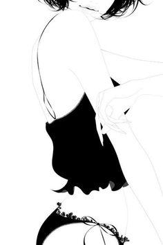 Black & white fashion illustration - lingerie sketch // Ena