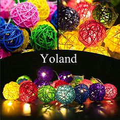 Yoland 2m656ft 20led Wooden Rattan Ball Battery Powered String Lights for Christmas Wedding Party Indoor  Home Dcor Mixed color *** Want additional info? Click on the affiliate link Amazon.com on image.