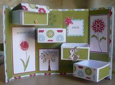 tuto boite à secrets                                                       … Cardboard Box Crafts, 3d Paper Crafts, Diy And Crafts, Craft Kits, Craft Projects, Scrapbook Box, Interactive Cards, Fancy Fold Cards, Pop Up Cards
