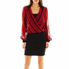 08d9a006a822 Bisou Bisou® Long-Sleeve Striped Blouson Dress - jcpenney Office Attire