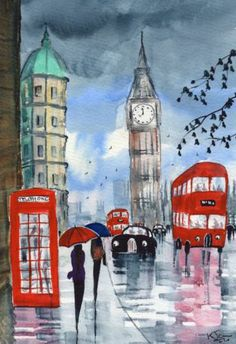 Original Watercolour Painting ~ Rainy Day London ~ BY KJ CARR